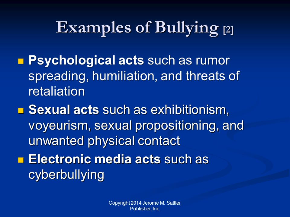 Examples of Bullying [2]